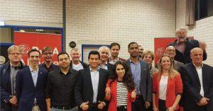 De kandidaat-raadsleden voor de PvdA Almere 2018 met lijsttrekker Jerzy Soetekouw